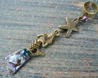mermaid ear cuff,abalone ear cuff,starfish ear cuff,mermaid jewelry, cosplay jewelry,beach jewelry,boho jewelry,