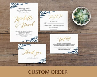 Wedding Invitation Template, Wedding Invitation Suite, Navy Blue Wedding Invitation, Wedding Invitation Printable, Gold Wedding Invitation