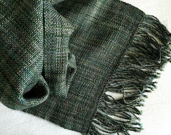 Plaiding Scarf - Handwoven - Merino, Cashmere, Glitter Nylon - Enchanted Forest