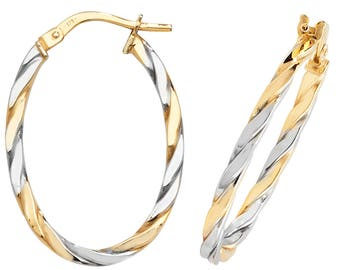 9ct 2 Colour Yellow & White Gold Oval Flat Twisted Hoop Earrings