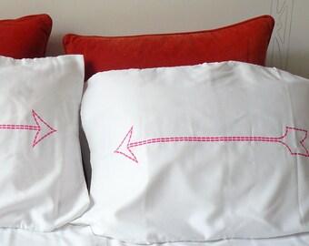 SALE - Neon Pink Arrow Pillow Case - Dorm Decor - Housewarming Gift - Novelty Pillowcase - Decorative Pillows Hand Silk Screened Brooklyn