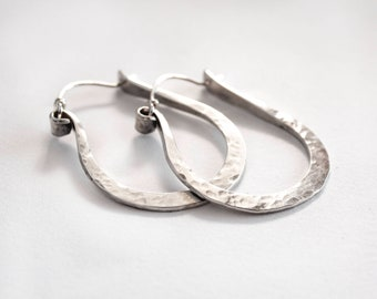 Sterling Silver Hoop Earrings - Silver Hoop Earrings Medium - Graduation Gift For Her - Everyday Hoop Earrings  - Gift Under 40
