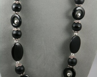 black onyx necklace with sterling silver