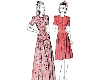 40s uncut Princess Seam Dress pattern, Shirtwaist Dress pattern Full Skirt Dress pattern Fit and Flare Dress vintage 30-25-33 Advance 2873
