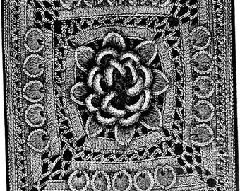 PDF Crochet Pattern, Dalia Square For a Quilt