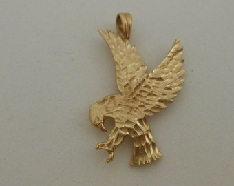 Vintage gold eagle necklace etsy vintage 14k solid yellow gold eagle pendant aloadofball Choice Image