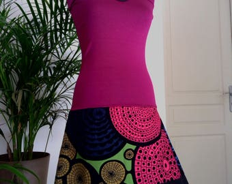 Dress strapless /Jupe raspberry Cotton Jersey printed pink / green / blue