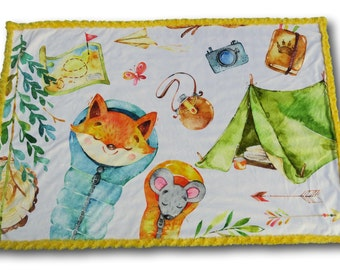 Woodland Baby Quilt, Camping Baby Quilt, Wanderlust Baby, Animal Baby Quilt, Outdoors Baby, Forest Nursery, Forest Baby, Voyage Baby