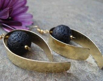 Santorini Black Lava Hoops Hammered Bronze Earrings  Contemporary Metalwork Bronze and Black Lava Earrings