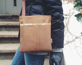 Brown Mini Crossbody Bag, Canvas Crossbody Bag, Copeland Mocha Crossbody Messenger Bag Bella Bag