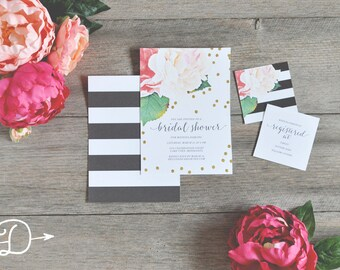 Kate Floral Stripe Bridal Shower Invitations with Registry Card Insert - Digital/Printable