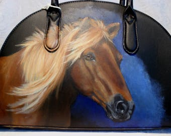 Hand painted Half Moon Vegan Satchel of 'Rudy'