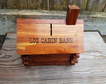 Vintage Log Cabin Bank Rustic Souvenir Bank