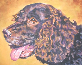 American Water Spaniel dog art portrait CANVAS print of LA Shepard painting 11x14