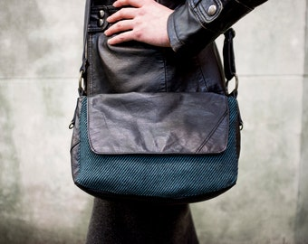 RECLAIMED Leather & Textile Cross body Purse