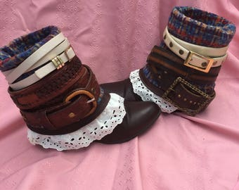 UPCycled Cowgirl Boots size 7.5 - Fleece lined bootie boots - ladies boots