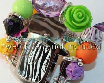 Wicked.. Halloween Interchangeable Beaded Watch Band, Orange, Black, Lime Green, Purple, Yellow