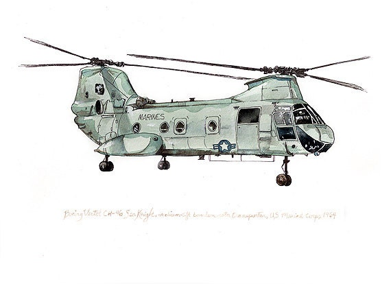 CH-46 Sea Knight us marine aviation watercolor print