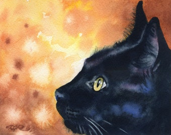 BLACK CAT Art Print Signed by Watercolor Artist DJ Rogers