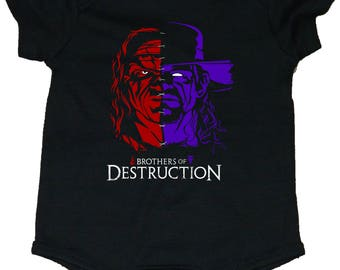 Brothers Of Destruction Kane and Undertaker Baby Bodysuits/Creepers