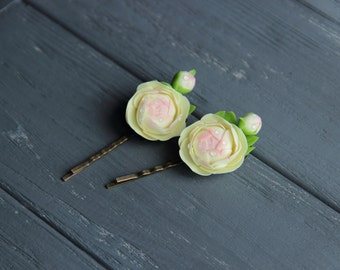 peony hair pin, flower hairpin, cold porcelain, wedding stuff, bride hairpin, peony hair, bridesmaids pins, pink headband, lilac pins