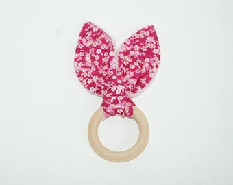 Wooden teething ring rabbit ears for baby
