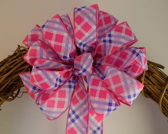 Pink, Purple and White Plaid Bow, Plaid Bow, Spring Bow, Summer Bow, Wreath Bow, Basket Bow, Decorative Bow