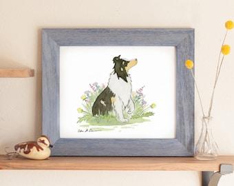 Sheltie Art, Sheltie Print, Tricolor Sheltie, Dog Nursery Art, Children's Art, Sheltie Gift, Sheltie Lover, Watercolor, Dog Portrait, Collie