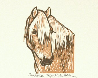 Cheval finlandais impression, impression papier, poney, linogravure originale