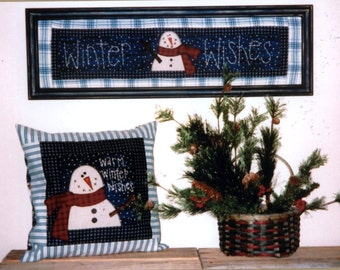 Snowman WINTER WISHES Wallhanging Stitchery & Pillow Pattern by Heartfelt Finds
