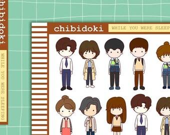 Cute While You Were Sleeping Korean Drama Planner Sticker Set    Erin Condren Planner  Kikki K   Filofax   Plum Planner    Happy Planner