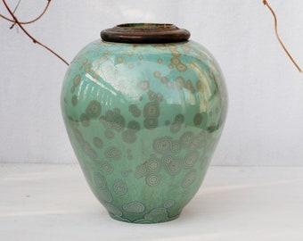 Cremation urn, cat urn, dog urn, ceramic urn for human ashes, crystalline pottery, green porcelain urn, pet urn, keepsake urn, memorial urn.