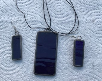 Handcrafted stained glass necklace and earrings
