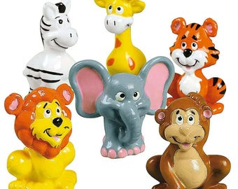 12 Zoo Animals- Tiger, Lion, Elephant, Monkey Action Figurines