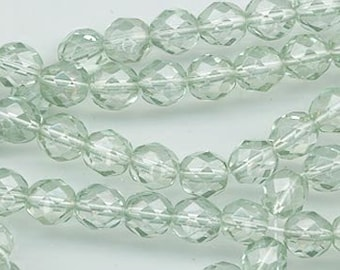 One 16-inch strand (about 50 beads) 8 mm light sage green firepolished beads - 164