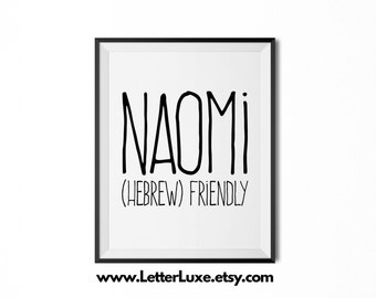 Naomi Name Meaning Art - Printable Baby Shower Gift - Nursery Printable - Definition Digital Print - Nursery Decor - Typography Wall Decor