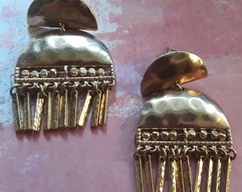 Gold Hammered Earrings with metal fringe FREE SHIPPING