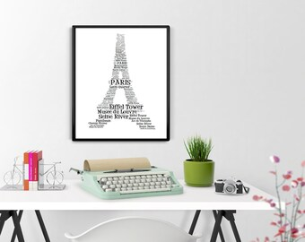 Eiffel Tower Print,  Paris Printable, Paris Posters, Eiffel Tower Instant Download, Home Decor, French Wall Art, Wall Decor