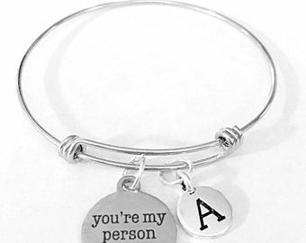 Best Friend Gift, You're My Person Charm Bangle Bracelet, Initial Bracelet, Best Friend Bracelet, Bff Gift Sister Bangle Charm Bracelet