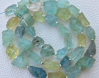 VERY Rare 12-15mm Long, 1/2 Strand,Brand New, Amazing Natural AQUAMARINE Hammered Rock Full Drilled Nuggets.