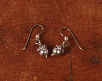 Acorn Earrings - Silver Acorn Earrings - Fall Earrings - Autumn Earrings - Drop Earrings