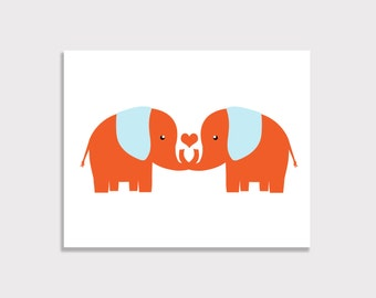 Modern Elephant Nursery Art - Elephants - 8x10 Print - Choose Your Colors