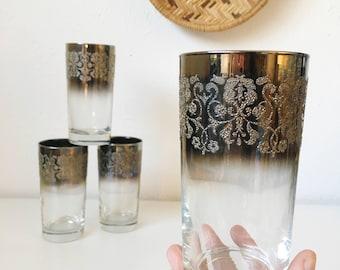 Vintage Mid Century Modern Vitreon Queen's Lustreware + Set of 4 + Silver Ombre Fade Embossed Floral Glassware + Mad Men Retro Barware Glass