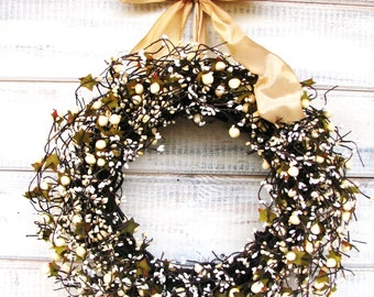 Wedding Decor-Vintage Wedding-Weddings-GOLD & ANTIQUE WHITE-Cream Berry Wreath-Winter-Wedding Decor-Home Decor-Wedding Gift-Housewarming