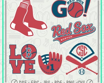 Boston Red Sox Svg Monogram, Baseball Svg Cutting Files Cliparts, Sport Svg, Instant Download, Baseball Clipart, Co-2709