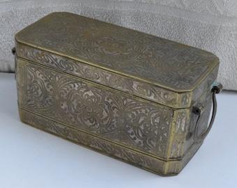 Vintage Rare Old Brass Box Hand Carvings Inlay work Original Metal Box #1624