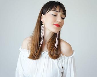 Bohemian Earrings Boho-Chic Fashion Pink Earrings Gift For Her Bohemian Jewelry Tassel Earrings Fringe Earrings / MUCCIA