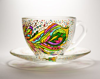 Mothers Day gift Tea set cup and saucer Feather Teacup Set Hand painted Gift for Women Bohemian cup