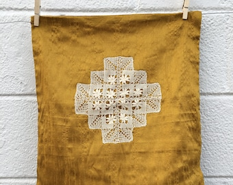 Mustard Silk Pillowcase with Tatted Lace Cross from Sri Lanka