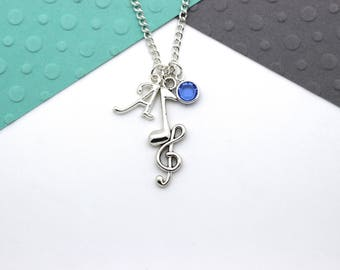 Personalized Music Charm Necklace, Music Note, Treble Clef, Musician Gift Necklace, Personalised Swarovski Birthstone & Initial Name Gift